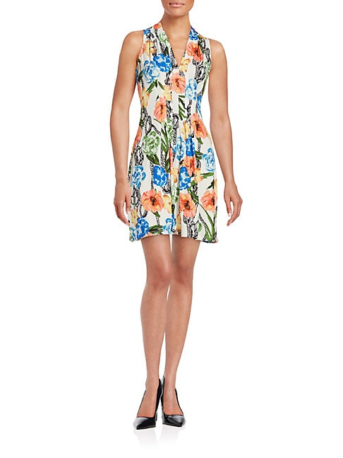 CATHERINE CATHERINE MALANDRINO | Pleated Floral Dress | Goxip