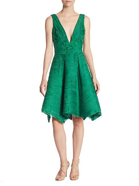 Crinkle Chiffon V-Neck Dress