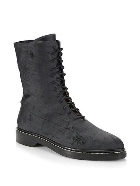 Fara Distressed Silk Combat Boots