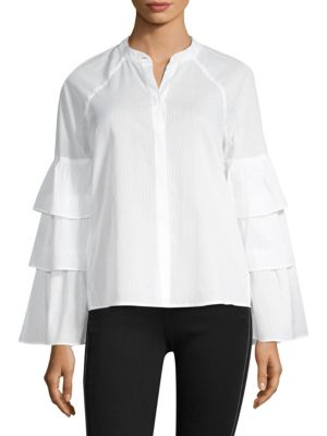 BCBGMAXAZRIA Tiered-Ruffle Sleeve Button Front Shirt in White