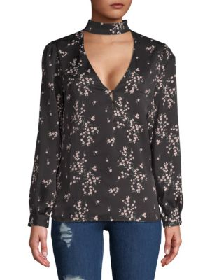 L'ACADEMIE The Harper Choker Blouse in Black