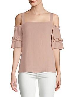 SUPPLY & DEMAND - Cold-Shoulder Cotton Top