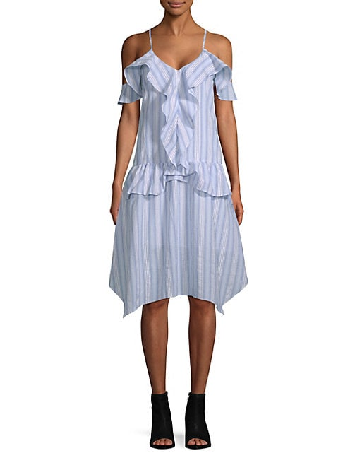Moon River RUFFLED COTTON CAMISOLE DRESS