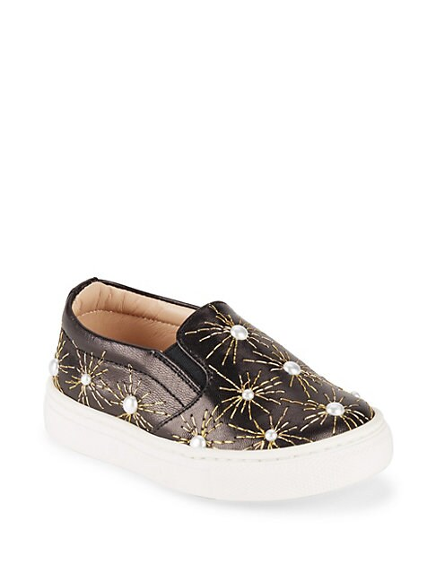 Baby Girls  Little Girls Pearl Leather SlipOn Sneakers