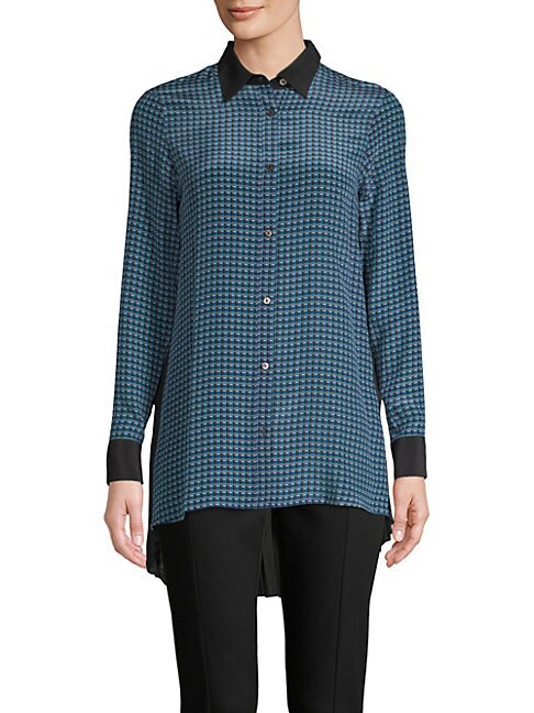 Robert Graham CHIARA SILK-BLEND BUTTON-DOWN SHIRT