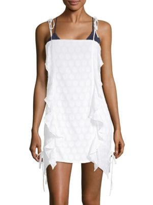 Vix Swim Solid Ruffle Short Coverup