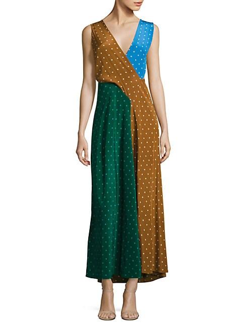 Colorblock Draped Silk Maxi Dress