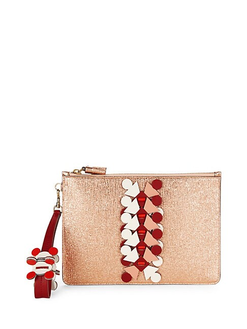 Embellished Metallic Pouch