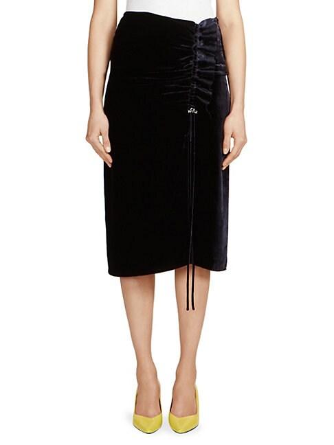 C DRIC CHARLIER   Velvet Ruched Skirt   Goxip
