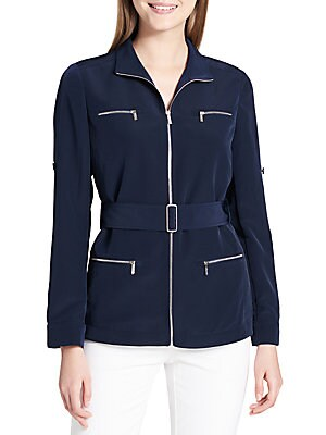COLLARED BELTED JACKET