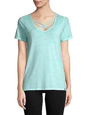 Crisscross-Front Short-Sleeve Top