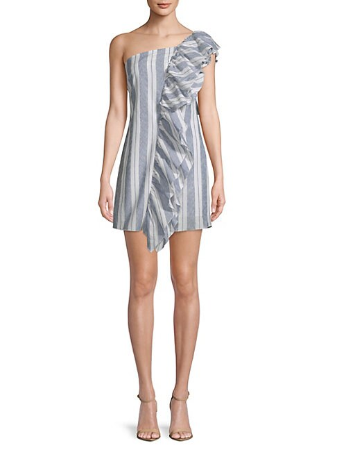 FREE GENERATION | Ruffle Stripe One-Shoulder Cotton Dress | Goxip