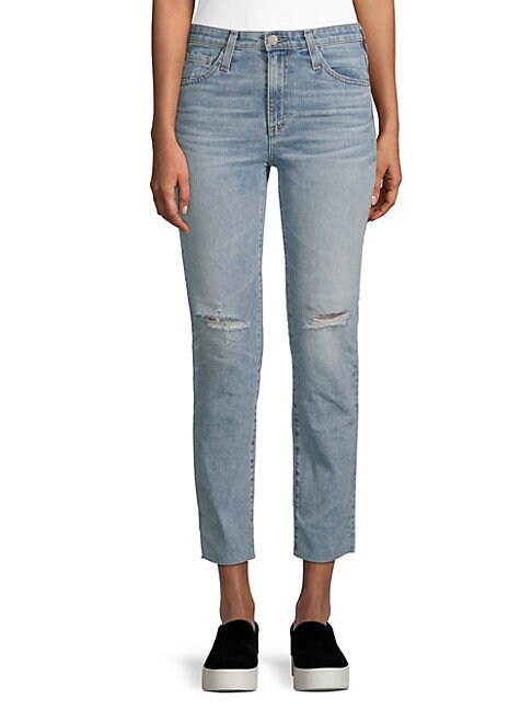 Isabelle Distressed Straight Cropped Jeans