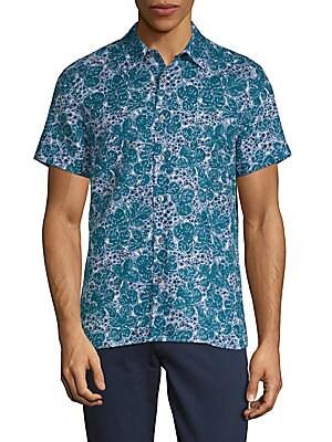 Leaf-Print Button-Down Shirt