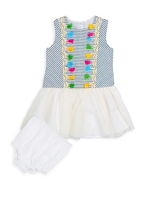 PIPPA & JULIE | Baby Girl's Two-Piece Stripe Dress and Bloomer Set | Goxip