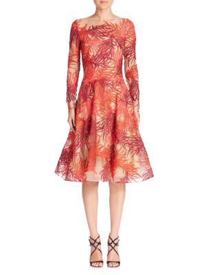 Naeem Khan Threadwork Long Sleeve Dress