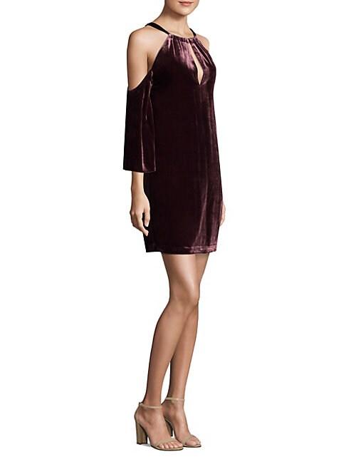 Cold-Shoulder Velvet Dress