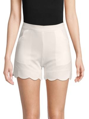 MADISONNE Scalloped Shorts in White