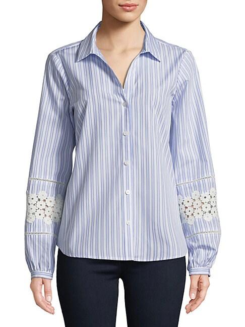 Crochet-Sleeve Stripe Blouse