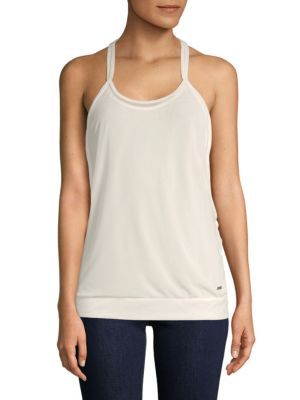 ZOBHA Double Layer Strappy Racerback Tank Top in Blanc