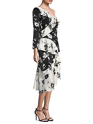 DELFI COLLECTIVE Lily Floral Ruffle Dress in Black Multi