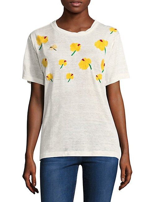 BANNER DAY Hawaiian Hibiscus-Patterned Tee in White