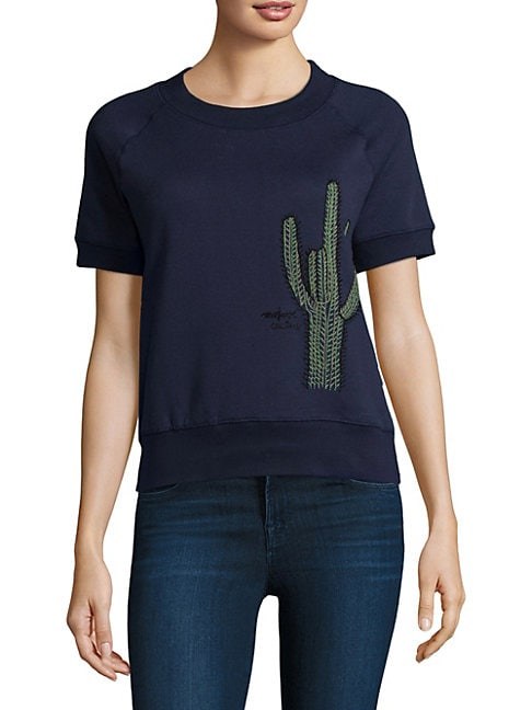 Cactus-Embroidered Top