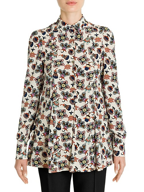 Pop Flower-Print Silk Blouse