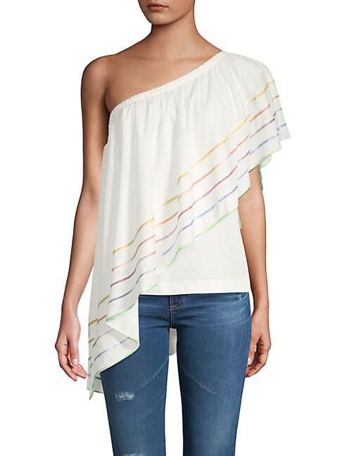 Primrose One-Shoulder Cotton Ruffled Top
