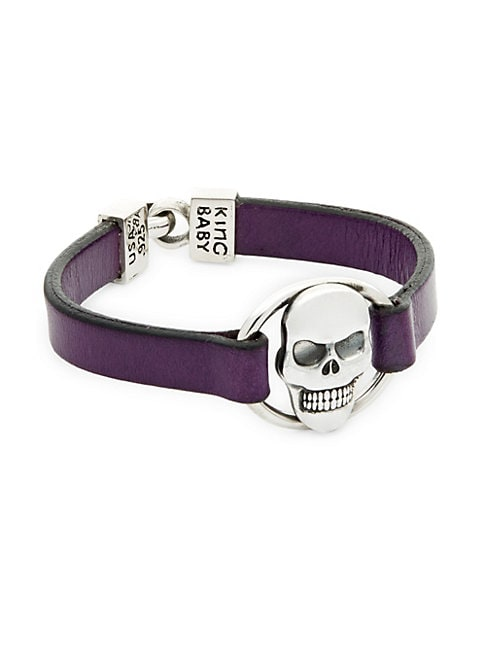 Sterling Silver & Leather Skull Bracelet