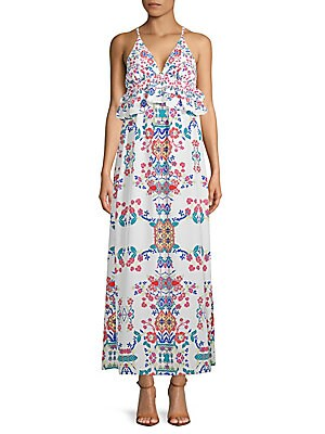 1st sight female ruffled floral maxi dress