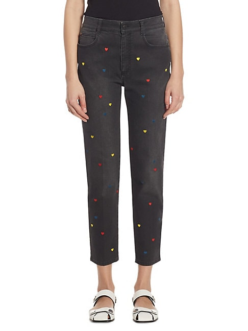 Heart-Embroidered Cropped Jeans