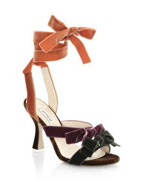 ATTICO Velvet Bow Ankle-Strap Sandals