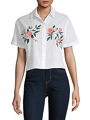 Gretta Embroidered Button Down Shirt by Rails