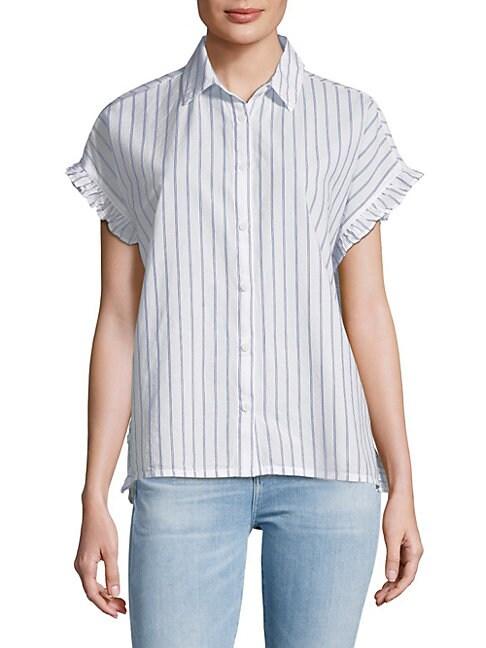 BEACH LUNCH LOUNGE   Pancho Striped Cotton Button-Down Shirt   Goxip