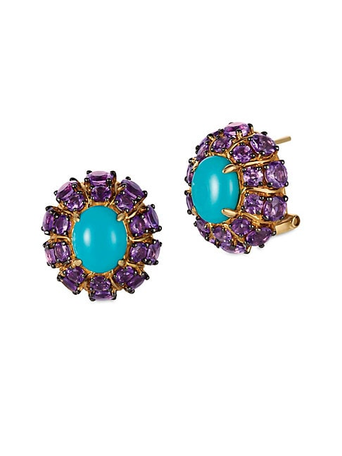 Grape Amethyst, Robins Egg Turquoise and 14K Honey Gold Stud Earrings
