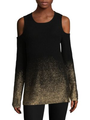 DESIGN HISTORY Metallic Cold-Shoulder Sweater in Black Multi