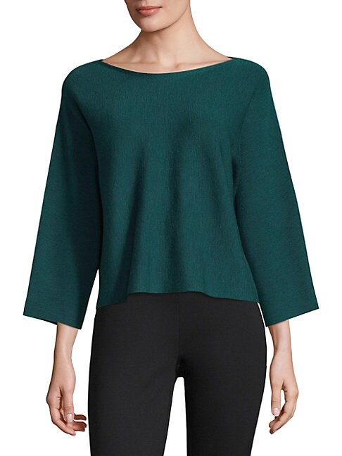 Boatneck Slit-Sleeve Wool Top