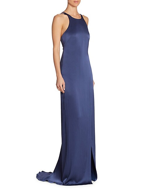 Strappy Satin Halter Gown