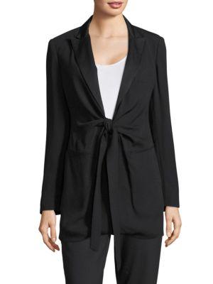 Donna Karan Longline Tie-Accented Blazer