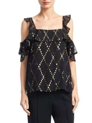 31593f89a67ce0 A.L.C Willow Cold-Shoulder Blouse In Black Multi