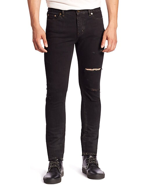 Ripped Straight-Fit Jeans