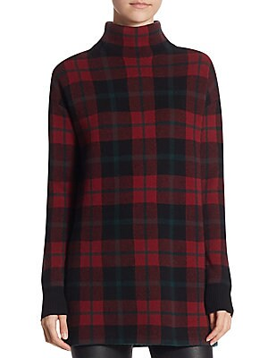 Checked Turtleneck Pullover