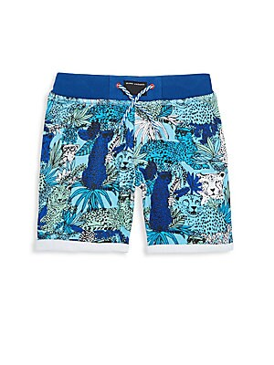 Little Boy's & Boy's Jungle-Print Cotton Shorts