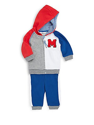 BABY BOY'S TWO-PIECE COLORBLOCKED COTTON JACKET AND JOGGER PANTS SET