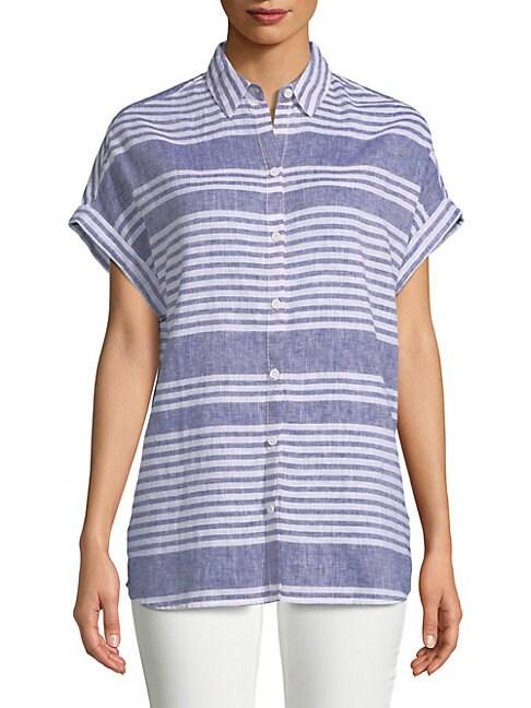 BEACH LUNCH LOUNGE   Stripe Button-Down Shirt   Goxip