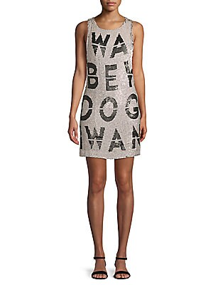 GRAPHIC SEQUINED DRESS