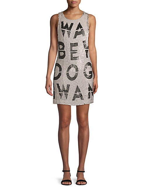 BEAU SOUCI   Graphic Sequined Dress   Goxip