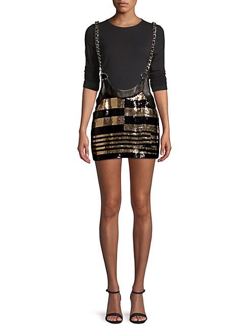 Beau Souci SEQUINED SUSPENDER SKIRT