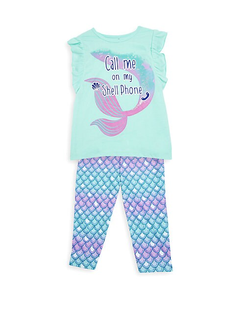 Little Girl's & Girl's Two-Piece Shell Phone Pajama Set